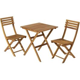 3 Piece Acacia Hardwood Folding Bistro Set thumb