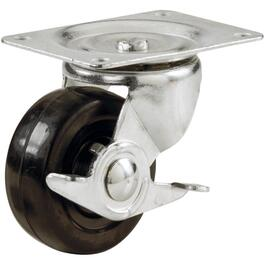 "4"" 255lb Rubber Swivel Plate Caster, with Brake thumb"