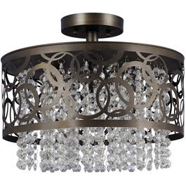 "4 Light 15"" Oil Rubbed Bronze Semi Flush Fixture with Crystal Drops thumb"