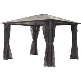 12' x 12' India Polycarbonate Hard Top Gazebo, with Mosquito Net thumb