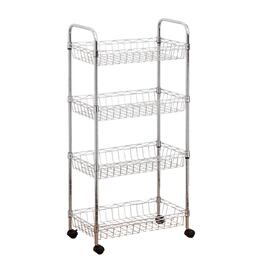 "17.7"" x 9.8"" x 37"" 4 Shelf Mini Chrome Wire Kitchen Trolley thumb"