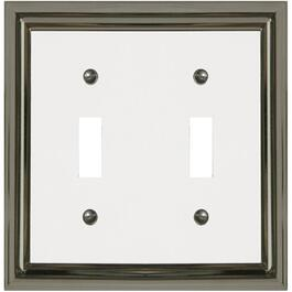 Estate Nickel with White Center Double Toggle Metal Switch Plate thumb