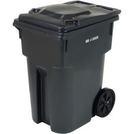 "360L Charcoal European Grip Curbside Garbage Can, with 12"" Wheels thumb"