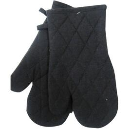 "7"" x 12"" Black Woven Classic Oven Mitts thumb"