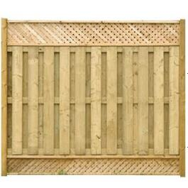 "6' 4"" Spruce Sanded Four Sides Top and Bottom Lattice Fence Package thumb"
