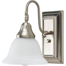 1 Light Lennox Pewter Wall Light Fixture with Frosted Alabaster Glass Shades thumb