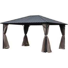 10' x 12' Niagara Charcoal Steel Top Gazebo, with Mosquito Net and Light thumb