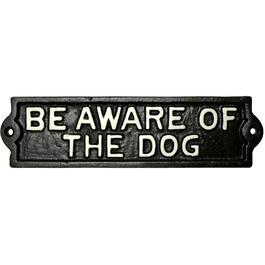 "8.66"" x 2"" Cast Iron ""Be Aware of Dog"" Sign thumb"