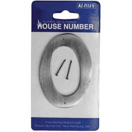 "3.5"" Antique Nickel Nail-On '0' House Number thumb"