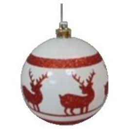 100mm Red Deer on White Round Plastic Ornament thumb