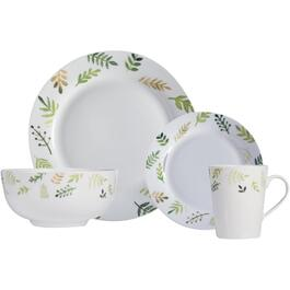 16 Piece Greenery Round Porcelain Dinnerware Set thumb