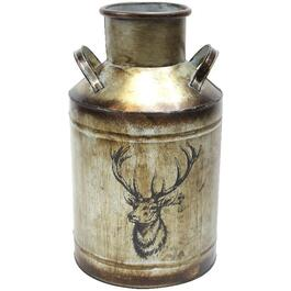 "14"" Galvanized Metal Milk Can, with Image of Deer thumb"