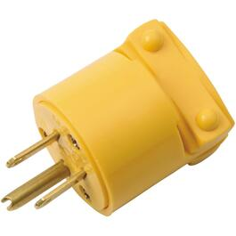 3 Wire 15 Amp 125V Yellow Vinyl Electrical Plug thumb