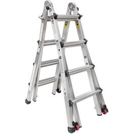 19' Aluminum Multi Function Telescopic Ladder, with Casters thumb