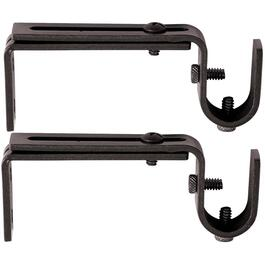 "2 Pack 3.5"" - 5.5"" Adjustable Black Curtain Rod Brackets thumb"