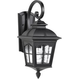 Black Outdoor Downward Coach Light Fixture with Clear Water Glass thumb