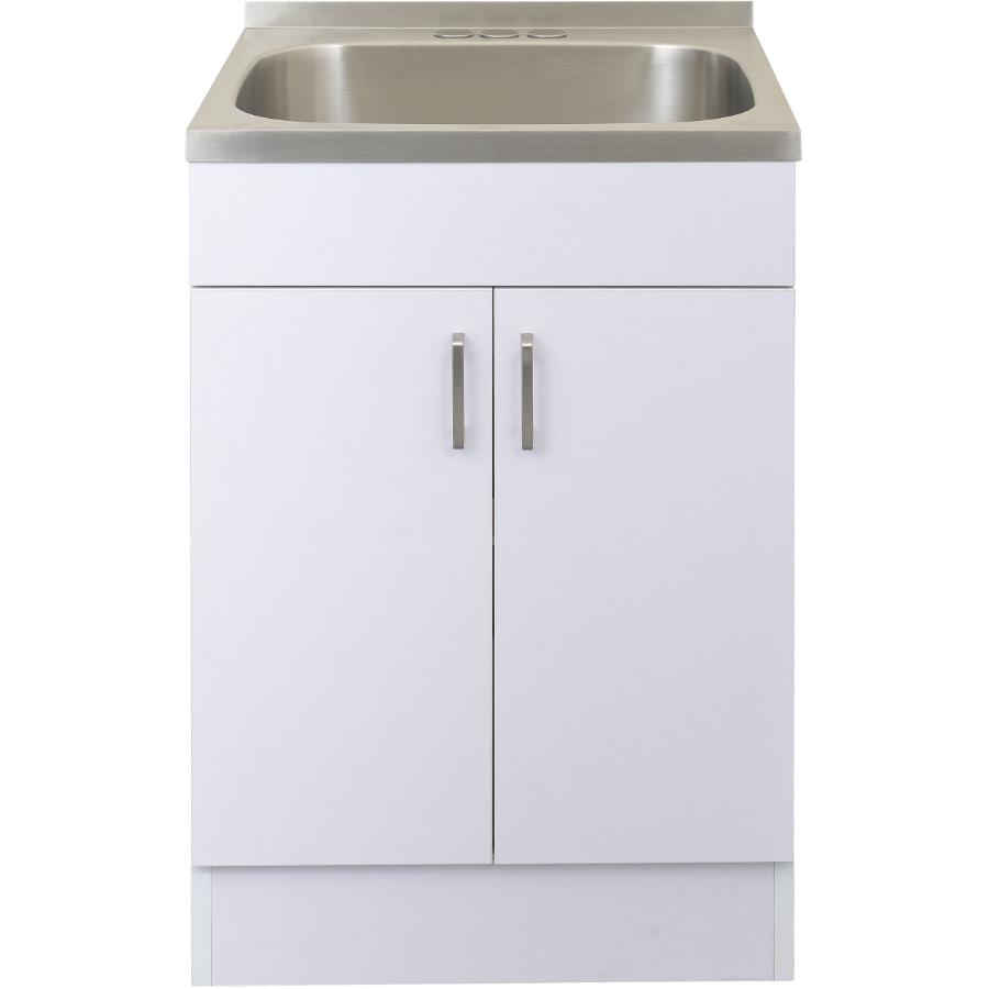 White Laundry Tub Cabinet With Stainless Steel Sink Home Hardware