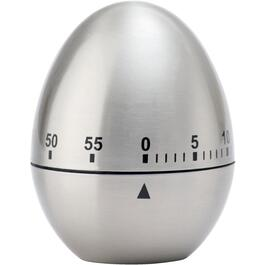 60 Minute Brushed Stainless Steel Mechanical Egg Shaped Timer thumb