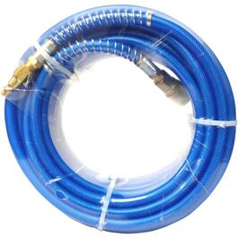 "1/4"" x 50' x 1/4"" National Pipe Thread Polyurethane Blue Air Hose, with Coupler thumb"