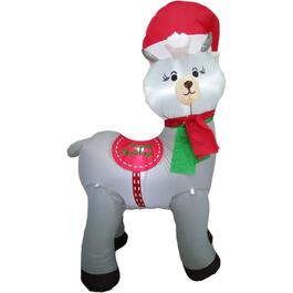 4' Holiday Llama Outdoor Airblown Inflatable Figure thumb