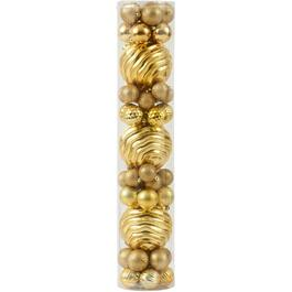 55 Pack Plastic Two Tone Gold Ornaments thumb