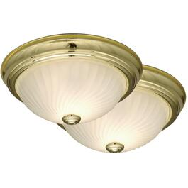 "2 Pack 11"" Brass Swirl Glass Flush Light Fixture thumb"