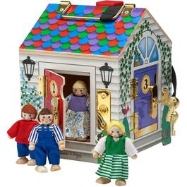 5 Piece Wooden House with Doorbell and Figures thumb