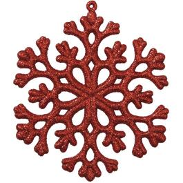 Plastic Red Snowflake Ornament thumb