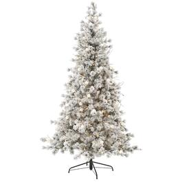 7.5' Flocked Lake Louise Christmas Tree, with 350 Warm White LED Lights thumb