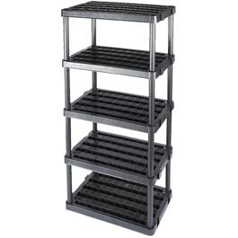"36"" x 24"" x 72"" 5 Shelf Extra Heavy Duty Black Poly Shelving Unit thumb"