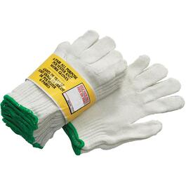 6 Pairs Men's One Size White Polyester Work Gloves thumb