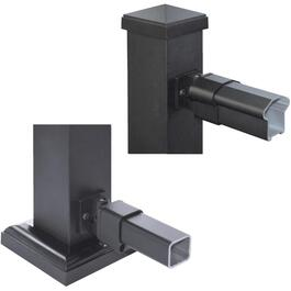 Black Aluminum Top and Bottom Swivel Rail End Bracket thumb