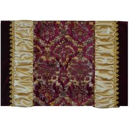 "19"" x 13"" Burgundy and Gold Jacquard Damask Polyester Centrepiece Mat thumb"