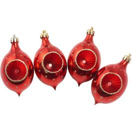 4 Pack Plastic Red Reflector Ornaments thumb