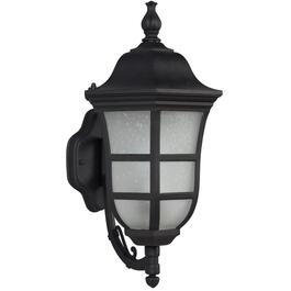 "18.75"" Black Outdoor Upward Coach Light Fixture with Frosted Seeded Glass thumb"