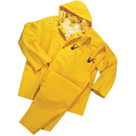 3 Piece Men's Extra Large Yellow PVC/Polyester Rain Suit thumb