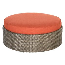 "38"" Round Woven Base Langdon Ottoman, with Cushion thumb"