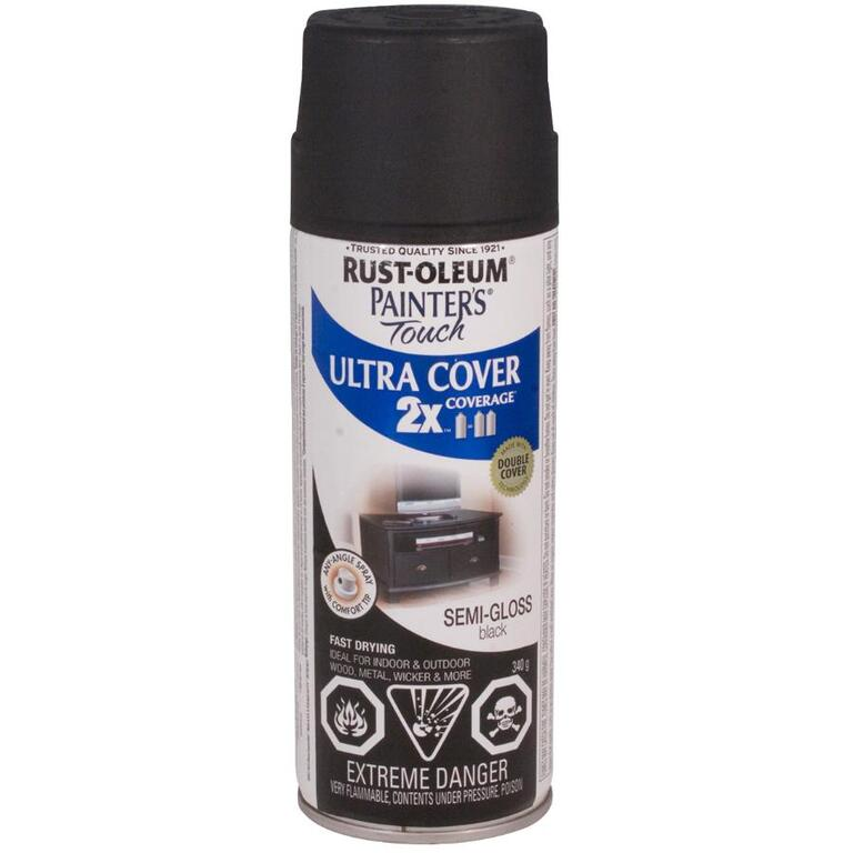 RUST-OLEUM:340g Painters Touch 2X Black Semi-Gloss Alkyd Spray Paint