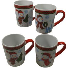 4 Pack 12oz Porcelain Snowman Mug Set thumb