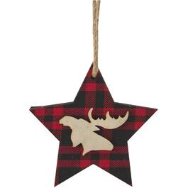 "5.5"" Wood Ornament, with Plaid Fabric, Assorted Styles thumb"