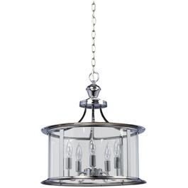 Bel-Air 5 Light Chrome Pendant Light Fixture with Clear Glass thumb