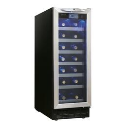Black with Stainless Steel Wine Cooler, Holds 27 Bottles thumb