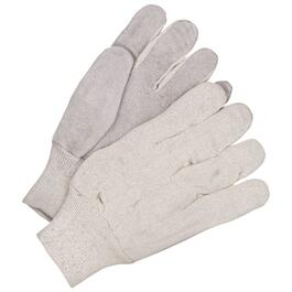 Men's One Size Split Leather Palm Cotton Back Knit Wrist Work Gloves thumb