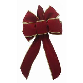 "17"" Indoor/Outdoor Red Velvet with Gold Edge Bow thumb"