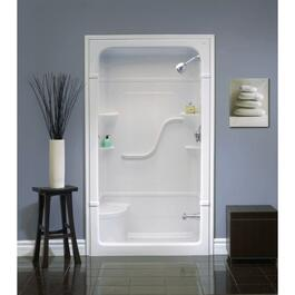 "1 Piece 48"" Right Hand White Acrylic Shower Cabinet thumb"