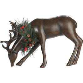 "6.5"" Brown Resin Head Down Deer Figure thumb"