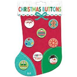 8 Pack Christmas Lapel Buttons, Assorted Models thumb