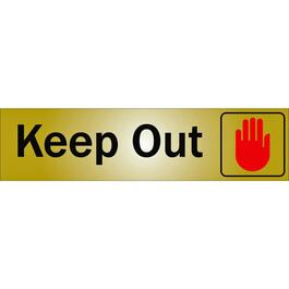 Affiche autocollant en métal de 2 po x 8 po, Keep Out thumb
