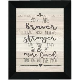 Plaque murale encadrée de 16 po x 20 po, You Are Braver thumb