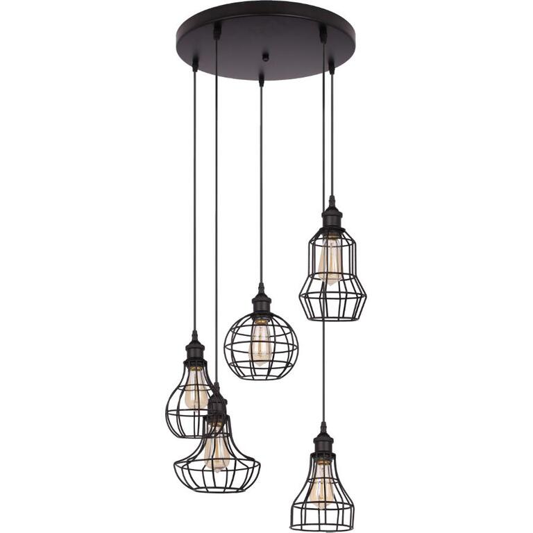 luminaire suspendu 5 lampes lancy avec abat jour en fil de fer noir home hardware. Black Bedroom Furniture Sets. Home Design Ideas
